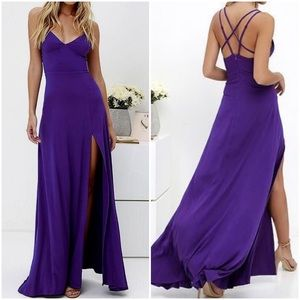 Lulu's Bridgetown Beauty Purple Maxi Dress Size SM